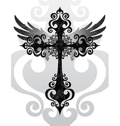 Cross and wings vector