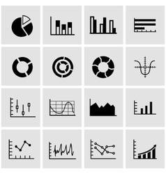 Black diagrams icon set vector