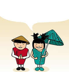 Chinese cartoon couple bubble dialogue vector