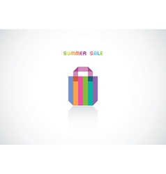 Bright striped bag for summer sale vector