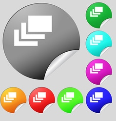 Layers icon sign set of eight multi-colored round vector
