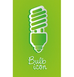 Saving bulb label isolated on green background vector