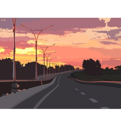 Highway on a background of pink sunset vector