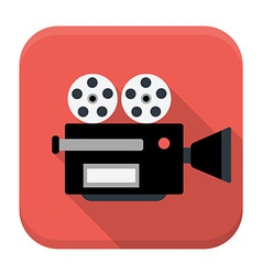 Movie camera flat app icon with long shadow vector