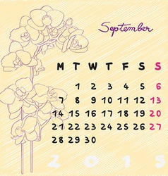 September 2015 flowers vector