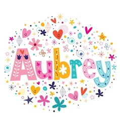 Aubrey female name decorative lettering type vector