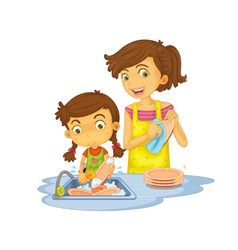 Washing dishes vector