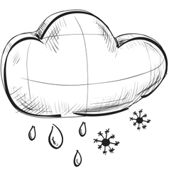 Cloud with snowflakes and rain drops weather icon vector
