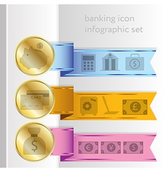 Banking icons colored infographic ribbons vector