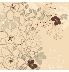 Stylish floral light beige background vector