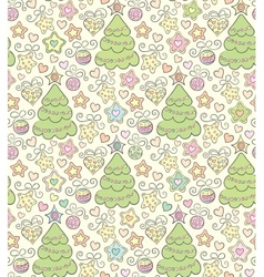 Funny seamless christmas color background vector