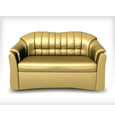 Golden leather sofa vector