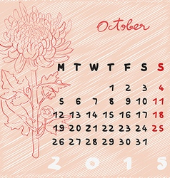 October 2015 flowers vector