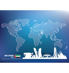 Map pin with abu dhabi skyline vector