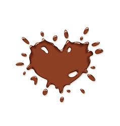 Chocolate splash heart vector