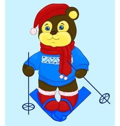 Cartoon bear in a cap and a sweater ski vector