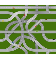 Winding roads and moving cars vector