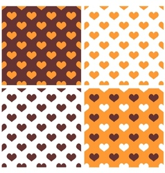 Tile orange white and brown hearts pattern set vector