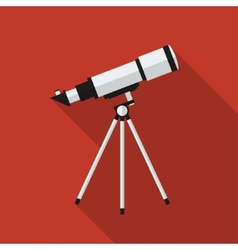 Flat telescope with long shadow icon vector