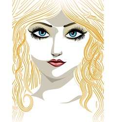 Blond girl with blue eyes vector