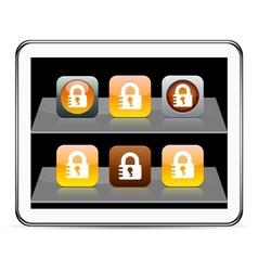 Lock orange app icons vector