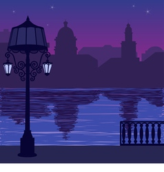 City skyline at night quay vector