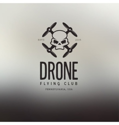 Drone quadcopter vintage style label vector