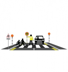 Zebra crossing school patrol vector