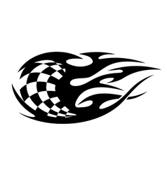 Black and white checkered flag with speed trails vector