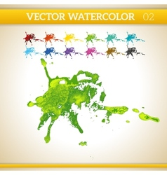 Fresh green watercolor artistic splash for design vector