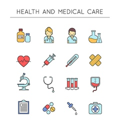 Medical and healthcare outline icons set vector