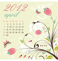Calendar for 2012 april vector