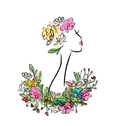 Female profile with floral hairstyle for your vector