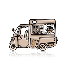 Mobile cafe with desserts sketch for your design vector