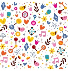 Nature love harmony fun cartoon seamless pattern vector