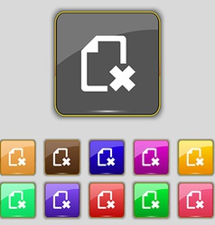 Delete file document icon sign set with eleven vector