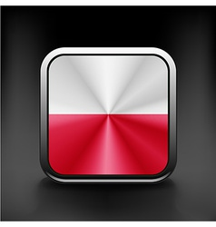 Flag of poland glossy icon button with polish flag vector