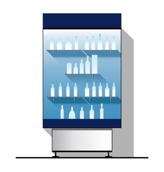 Glass showcase with bottles vector