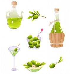 Olives and olive oil vector