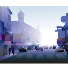 Early morning street vector