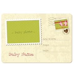 Baby girl arrival postard vector