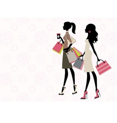Two women shopping vector