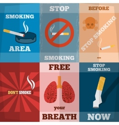Smoking mini poster set vector