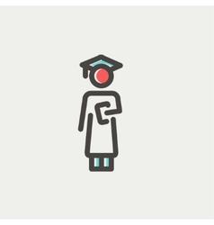 Graduation thin line icon vector