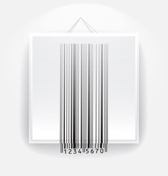 Blank frame on the wall with barcode vector