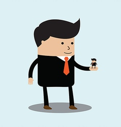 Big businessman has little businessmen in the palm vector