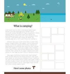 Camping template with text outdoors summer vector