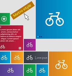 Bicycle icon sign metro style buttons modern vector