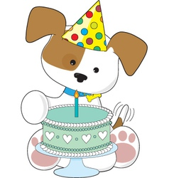Puppy birthday cake vector