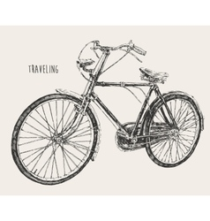Bicycle high detail traveling engraving vintage vector